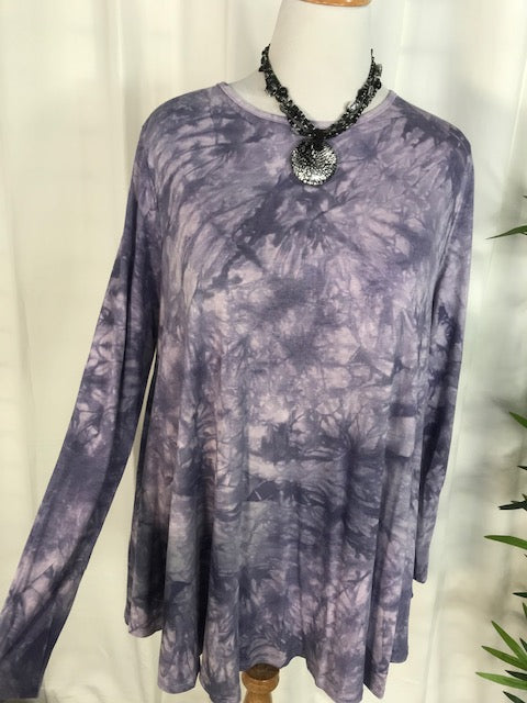 Purple Tie Dye Tunic Top (3X, 4X, 5X)
