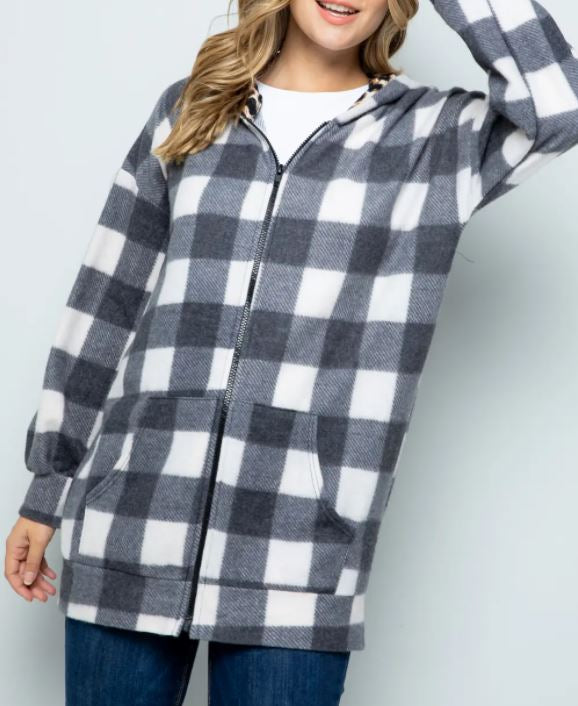 White Plaid Front Zip Hoodie