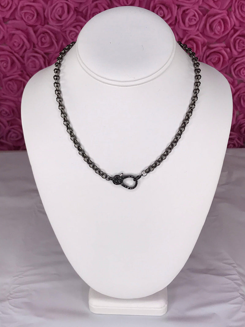 **SPECIAL ORDER** Gun Metal Chain Necklace with Pave Lobster Clasp (1502)