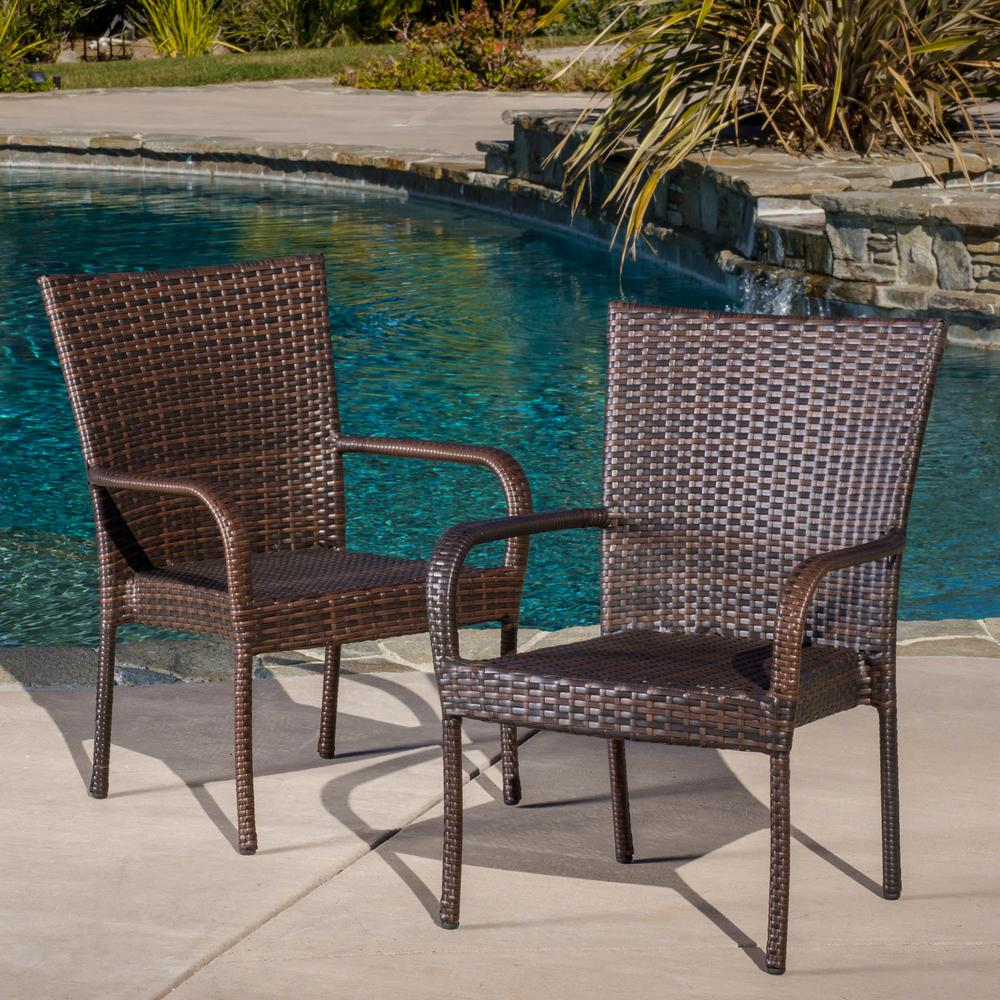 Bodega Outdoor Brown Wicker Sofa Set: Multi Brown Stackable Wicker Outdoor Dining Chairs (Set Of