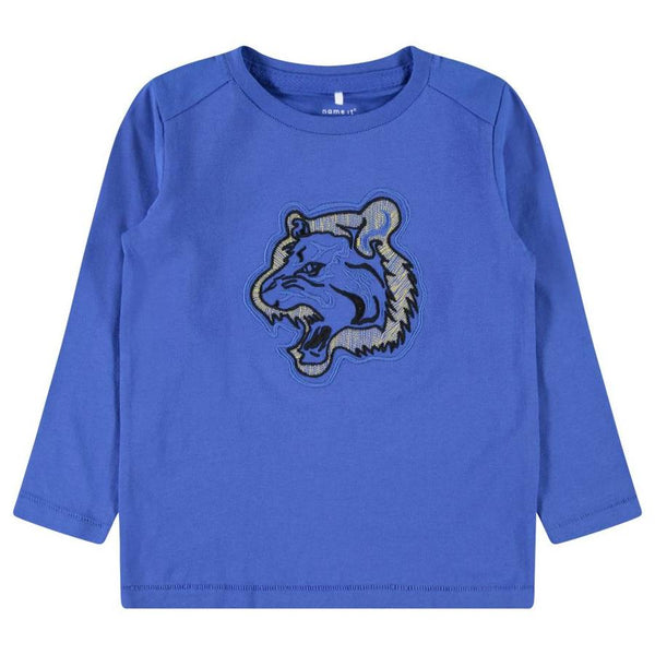 name it mini boys organic cotton blue tiger top ages 12 months to 5 years