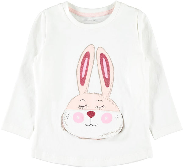 name it girls cream or pink organic cotton bunny glitter top age 18 months to 7 years