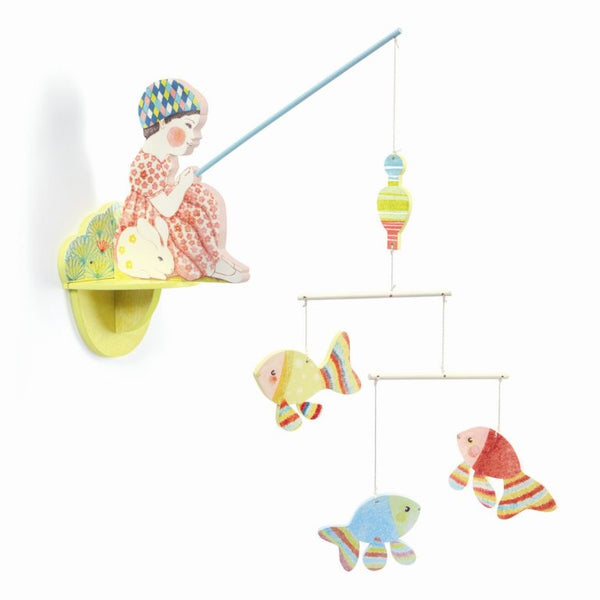 Djeco Fishergirl  and Fisherbear  wooden bedroom shelf mobile