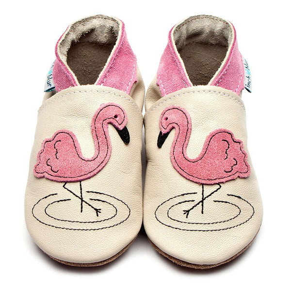 Inch blue soft cream leather shoe Pink Flamingo