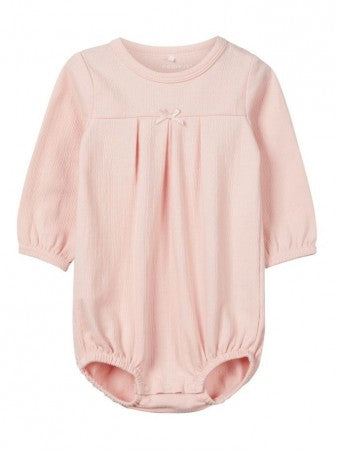 name it baby pink organic cotton bodysuit ages 1-9 months