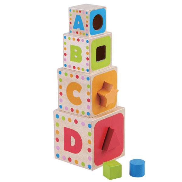 Jumini wooden stacking cubes & shape sorter game 12 months+