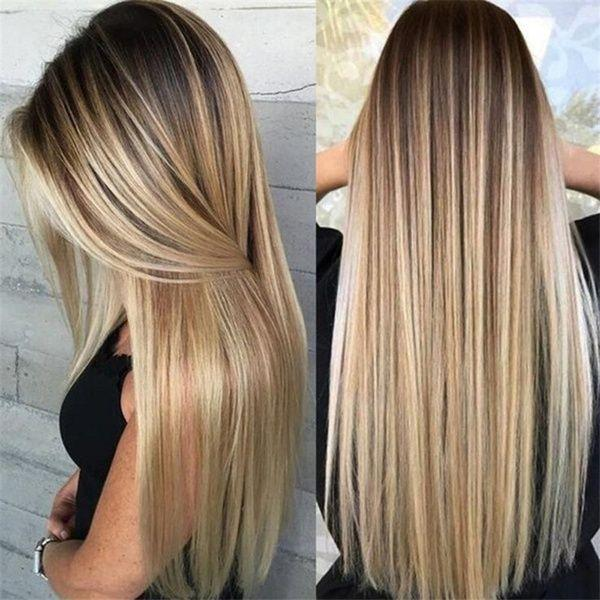 Long Straight Hair Ombre Blonde Wig Heat Resistant Wigs