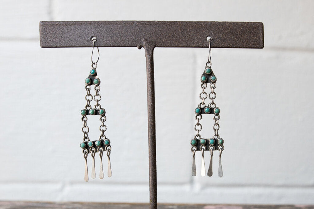 Vintage Zuni Turquoise Silver Chandelier Earrings