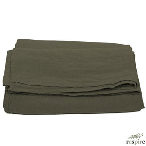 Washed linen sheet 180x280 cm in olive