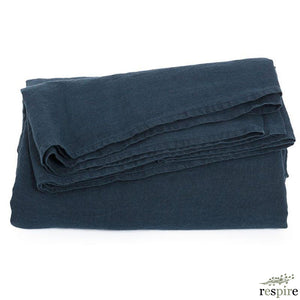 Washed linen sheet 270x320 in midnight blue