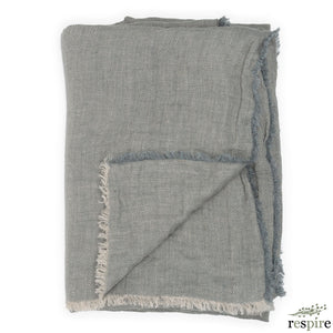 Linen Chevron blanket in steel colour