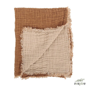 Washed waffled linen blanket in leather colour
