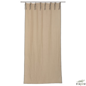 Linen curtain with thick border in natural colour