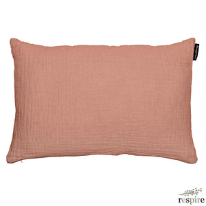 Waffled linen cushion in dark nude