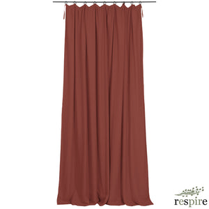 Pleated washed linen curtain in henna colour