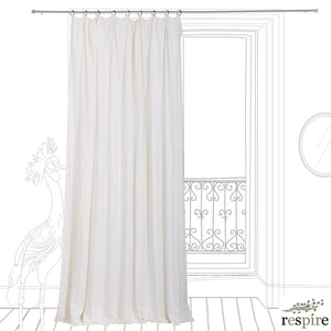 Pleated washed linen curtain in white