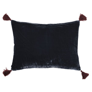 Goa pom pom cushion in midnight blue