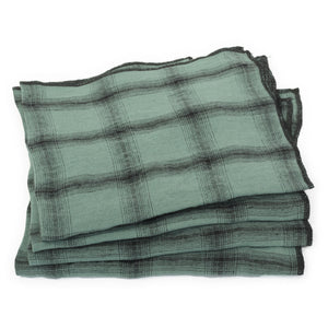 Set of 4 washed linen serviettes in beryl colour