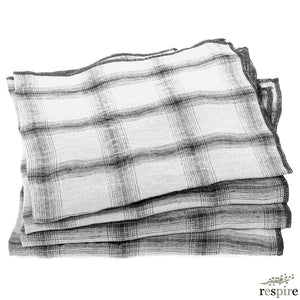 Lot de 4 serviettes Highlands en lin lavé off white