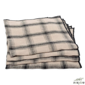 Lot de 4 serviettes Highlands en lin lavé namib