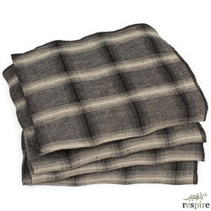 Lot de 4 serviettes Highlands en lin lavé lune