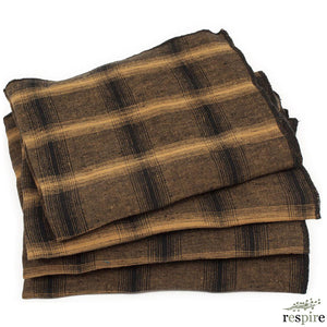 Lot de 4 serviettes Highlands en lin lavé moutarde
