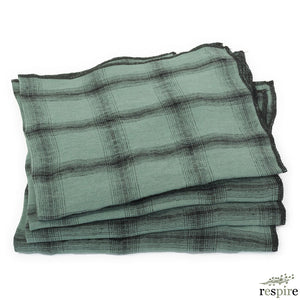 Lot de 4 serviettes Highlands en lin lavé Beryl
