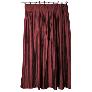 Double silk taffeta curtains in picante burgundy