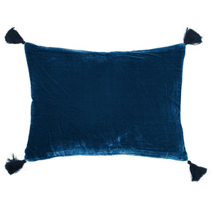 Goa pom pom cushion in French blue