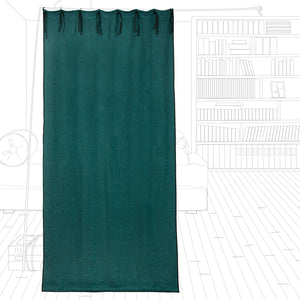 Williamsburg linen curtains in peacock colour