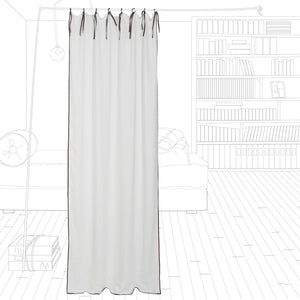 White linen curtain with thick border