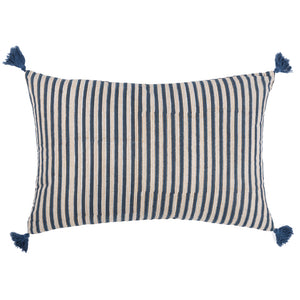 Striped cushion in black