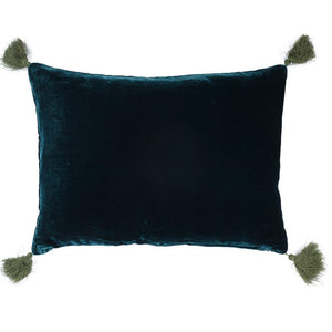 Goa pom pom cushion in coral blue