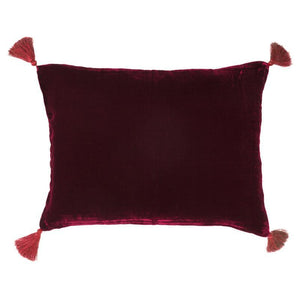 Goa pom pom cushion in burgundy