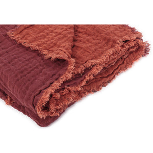 Waffled linen bedcover in brick colour