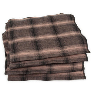 Lot de 4 serviettes Highlands en lin lavé nougat