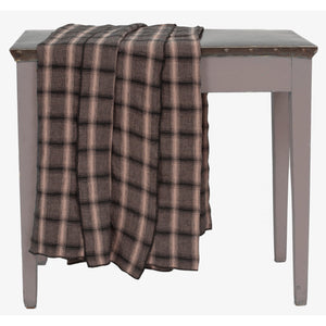 Washed linen Highlands tablecloth with 4 matching serviettes in nougat colour