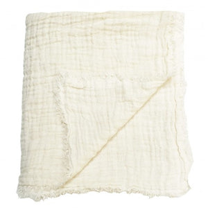 Washed waffled linen blanket in white