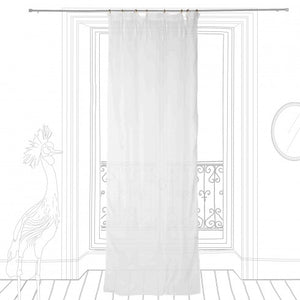 White linen curtain with white border