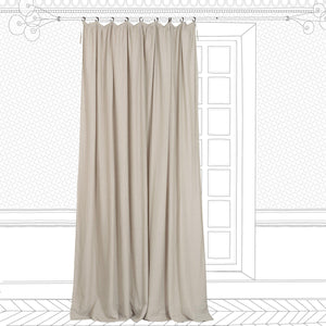 Pleated washed linen curtain in moon colour