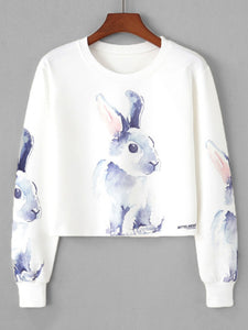 Rabbit Print Crop Sweatshirt