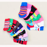4Pcs Cute Puppy Dogs Pet Knits Socks Anti Slip