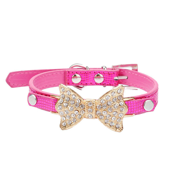 Hot Sale Dog Collars Bowknot  Bling Rhinestones Dog Collar