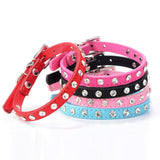 Super Deal Rhinestone Adjustable Leather Dog Puppy Cat Collars Necklace Neck #01