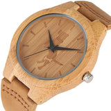 YISUYA Creative Bamboo Men Watch Women Wood Simple Crane/Cat/Dog Pattern Genuine Leather Band