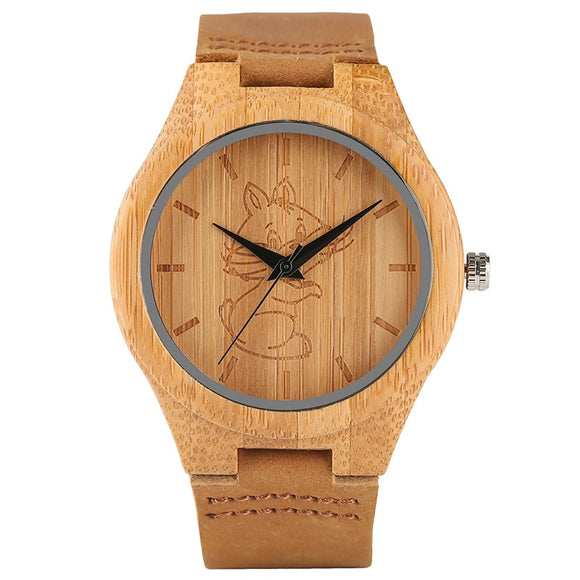 Wooden Watch Lovely Crane Cat Dog Animal Engraving Dial Women Mens Analog Bamboo Quartz Wristwatch Handmade Wood Clock Xmas Gift
