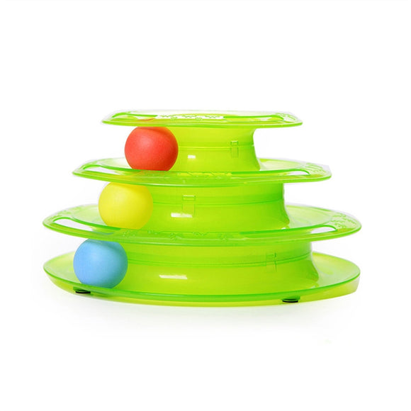 Cat Toy Three Layers Pet Toys  Crazy Play Ball Tray Cat Toy