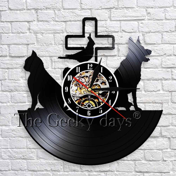 1Piece Cat Dog Health Services Vinyl Record Wall Clock Vet Clinic 12