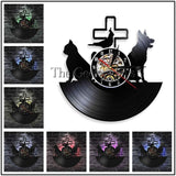 1Piece Veterinary Clinic Vinyl Record Wall Clock Modern Design Pet Cat Dog Animal Home Decor Wall Watch Time Clock Handmade Gift