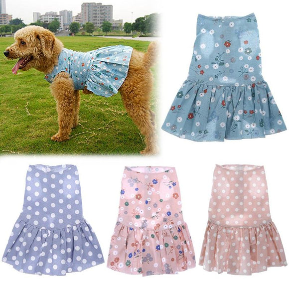 Spring Summer Puppy Pet Cat Dress Skirt Cotton Apparel